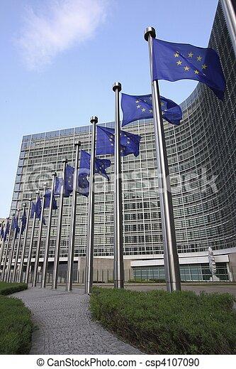 European flags in Brussels - csp4107090