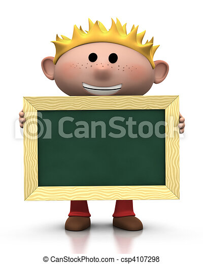 boy with chalkboard - csp4107298