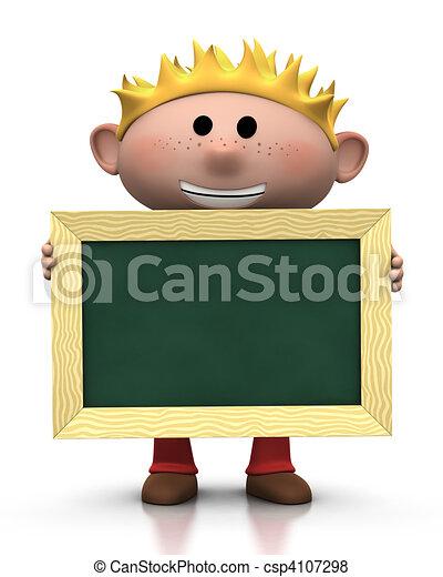 boy with chalkboard - csp4107298