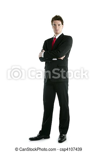 full length suit tie businessman posing stand - csp4107439