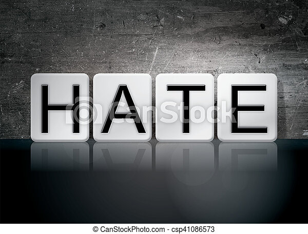 Hate Tiled Letters Concept and Theme - csp41086573