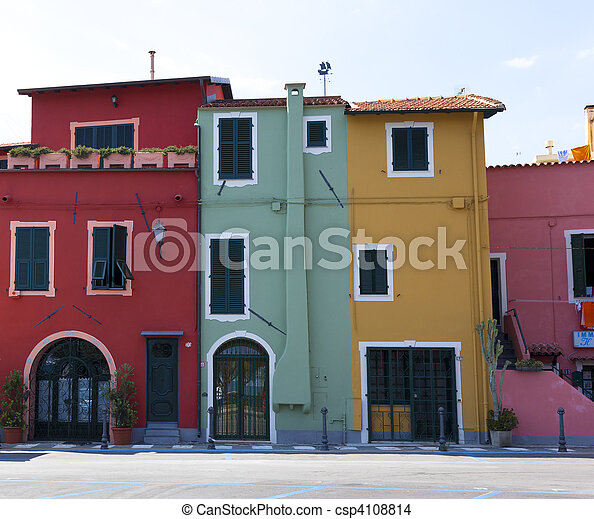 a few colorfull houses in liguria italy - csp4108814