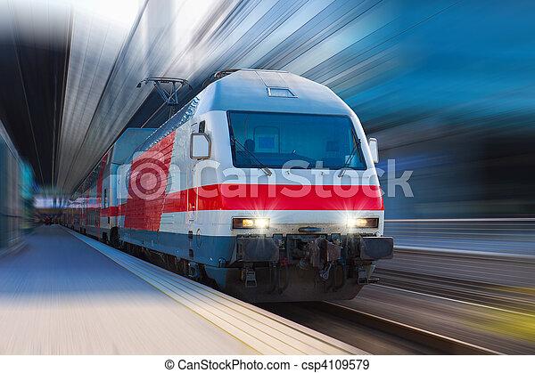élevé, vitesse,  train, moderne - csp4109579