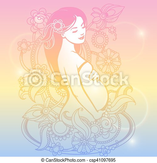 Pregnant woman in flowers - csp41097695