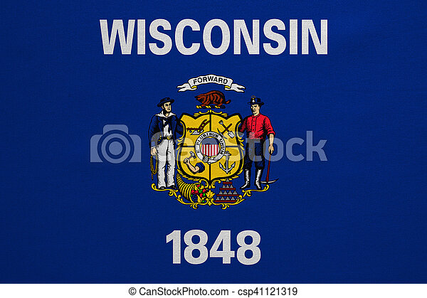 Flag of Wisconsin real detailed fabric texture - csp41121319