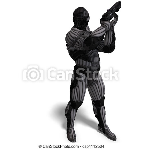 science fiction male character in futuristic suit. 3D rendering and shadow over white - csp4112504
