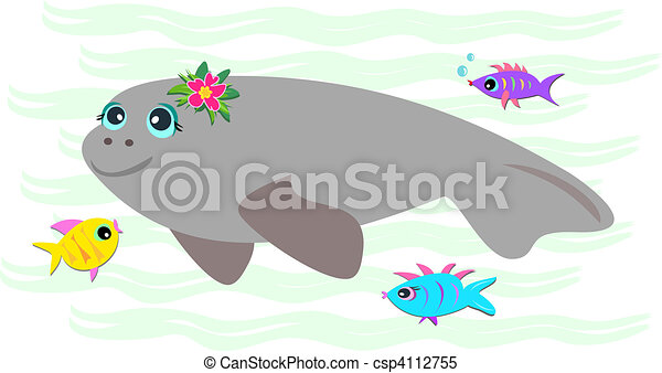 Peaceful Manatee with Friendly Fish - csp4112755