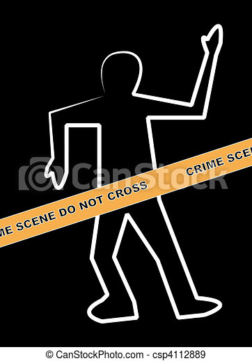 dead body outline with crime scene  - csp4112889