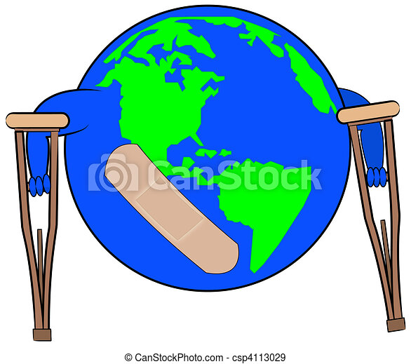 earth with bandaid on crutches  - csp4113029
