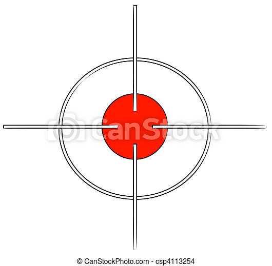 gun target or cross hairs with red mark - - csp4113254