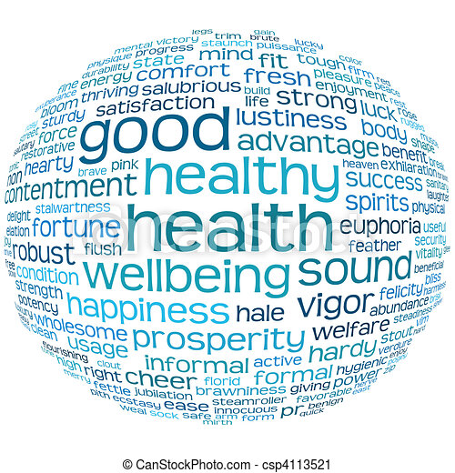 good health and wellbeing tag cloud - csp4113521