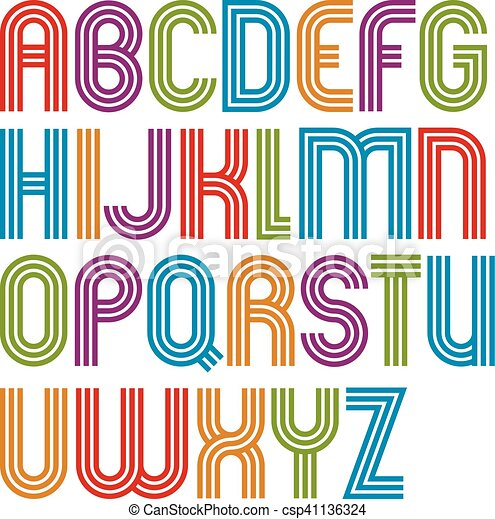 Vector Illustration of Colorful uppercase letters with rounded ...