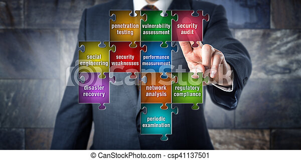 IT manager is doing a virtual puzzle made of pieces labeled with security audit terminology. Information systems concept for computer security audit, vulnerability assessment and penetration testing.