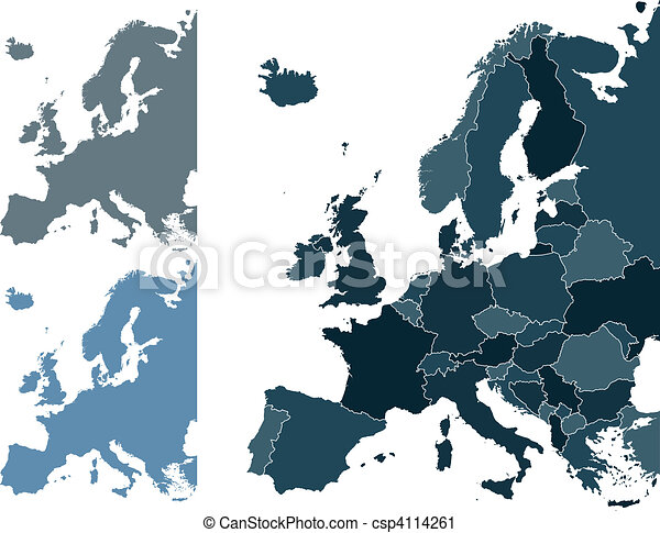 Vector Clip Art of Europe map - Set of Europe vector highly ...