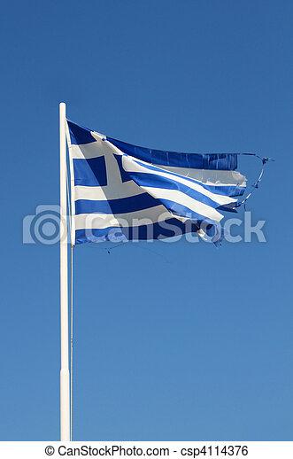 Ragged Greek flag - csp4114376