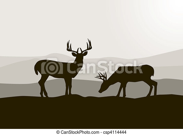 Deer silhouette in the wild - csp4114444