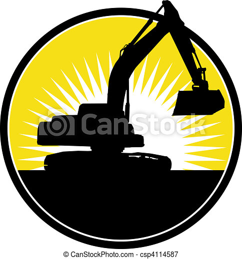 Mechanical Digger with sunburst in background - csp4114587