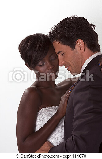 happy new wed interracial couple in wedding mood - csp4114670