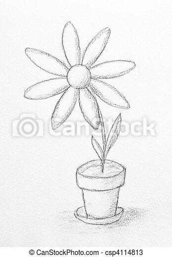 zeichnungen von blume skizze mit blume gemalt mit bleistift csp4114813 suchen sie. Black Bedroom Furniture Sets. Home Design Ideas