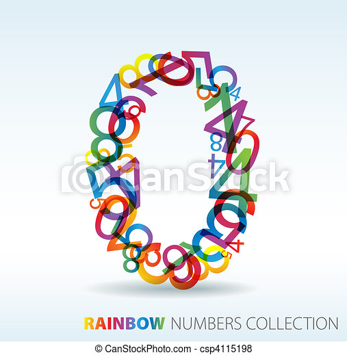 Number zero made from colorful numbers - csp4115198