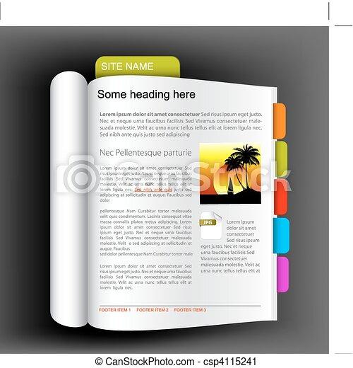 Web site template - open book - csp4115241