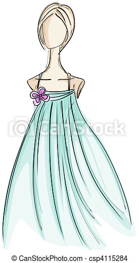 Girl in Gown Sketch - csp4115284