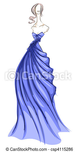 Illustration De Girl Robe Croquis Csp4115286
