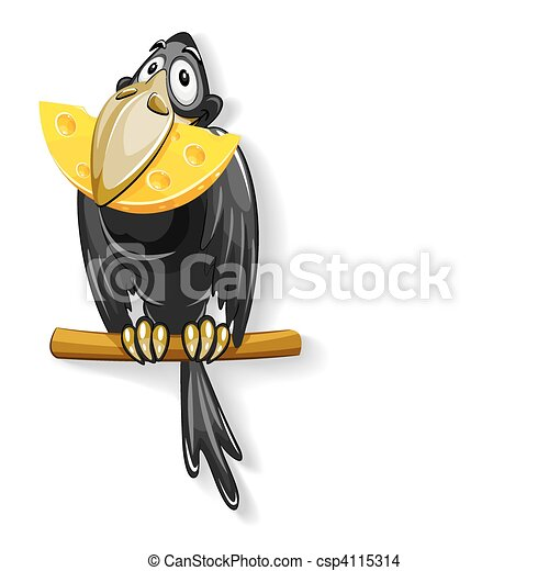 black crow with piece of cheese in - csp4115314