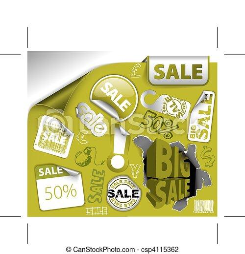 Set of green discount elements - csp4115362