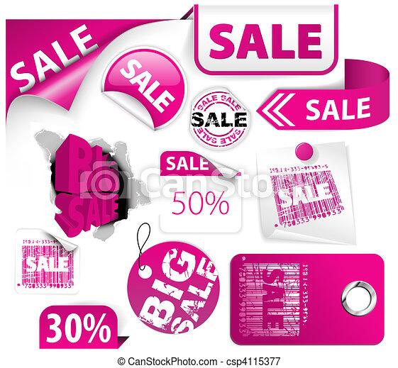 Set of pink discount elements - csp4115377