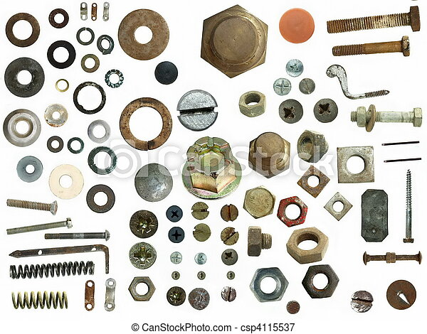 Old Screw heads, bolts, steel nuts - csp4115537