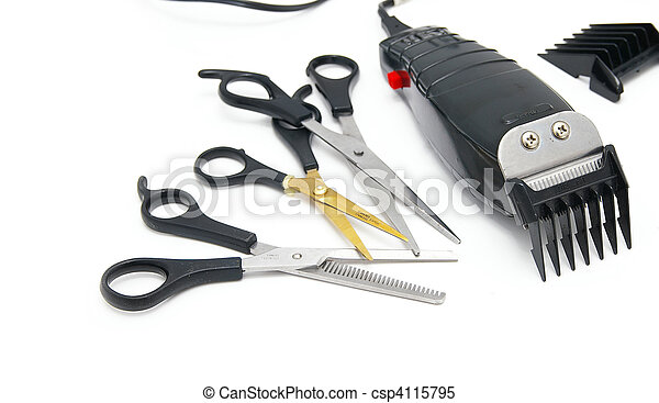 barber shop electric hair clippers and scissors, on white - csp4115795