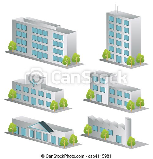 3d building icons set - csp4115981