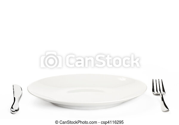 white plate with cutlery on white background - csp4116295