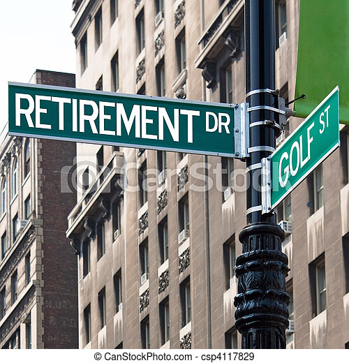 Retirement Golf Street Signs - csp4117829