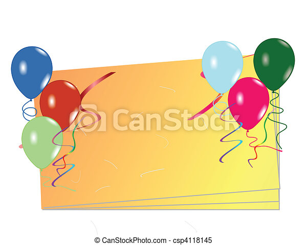 Celebration card with balloons - csp4118145