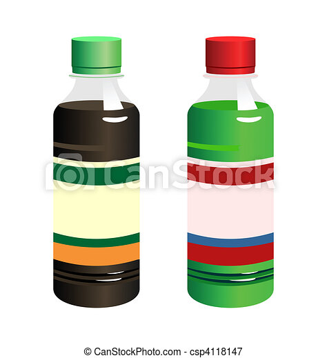 Illustration set of two bottle with label - csp4118147