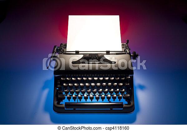 Vintage typewriter and paper - csp4118160