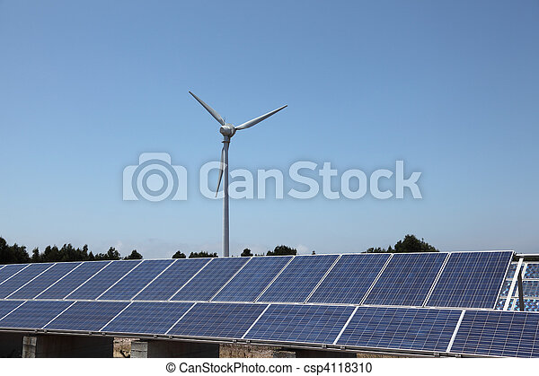 Wind turbine and photovoltaic panels for clean energy - csp4118310
