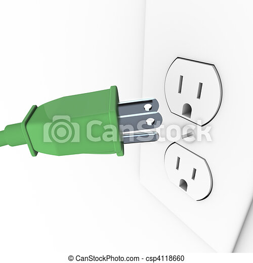 Green Electrical Plug into Wall Outlet - csp4118660