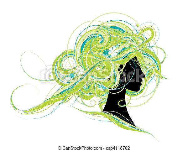 Woman head silhouette, hairstyle design - csp4118702