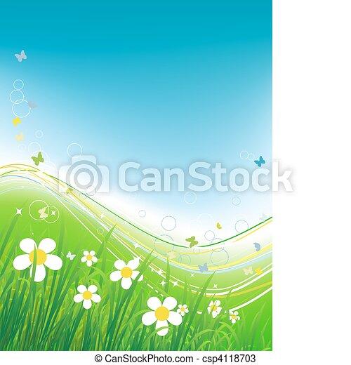 Green field with butterflies, summer background  - csp4118703
