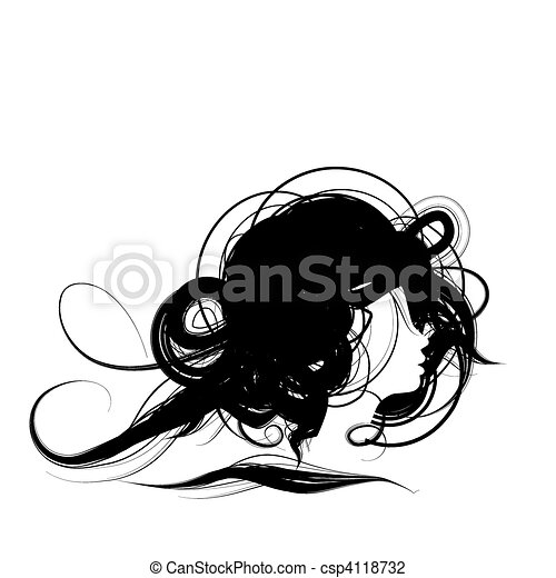 Woman head silhouette, hairstyle design - csp4118732