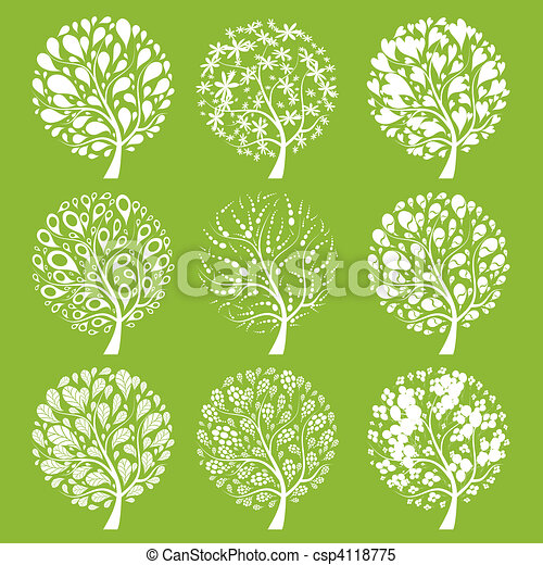 Art trees collection for your design - csp4118775