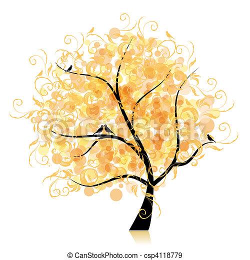 Art tree beautiful, golden leaf - csp4118779