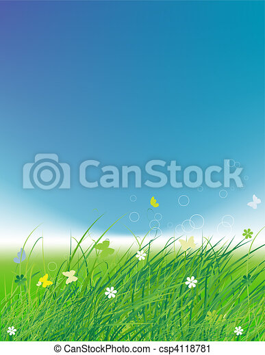 Green field with butterflies, summer background  - csp4118781