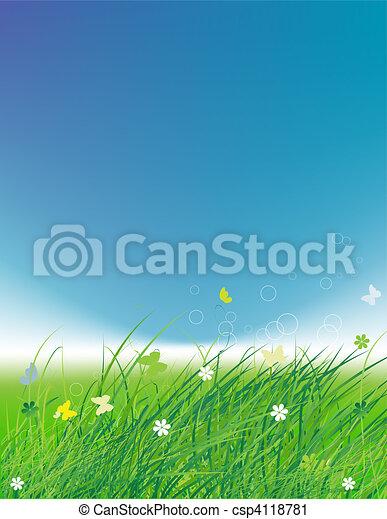 Green field with butterflies, summer background  - csp4118781