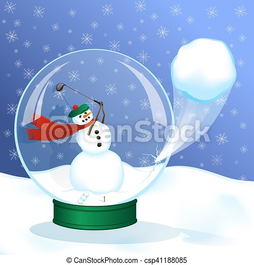 Snowman Snow Globe Golfer - csp41188085