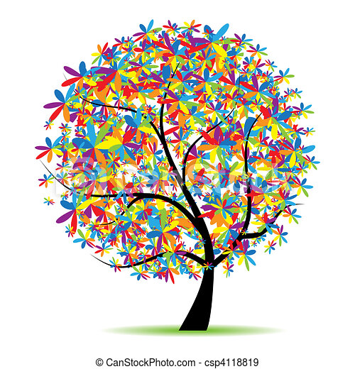 Art tree beautiful for your design - csp4118819