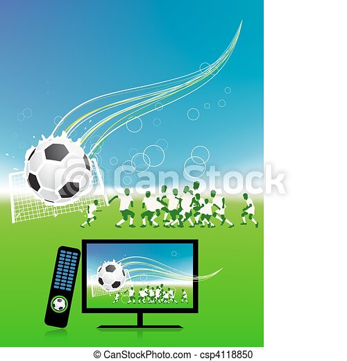 Football match  on tv sports channel - csp4118850